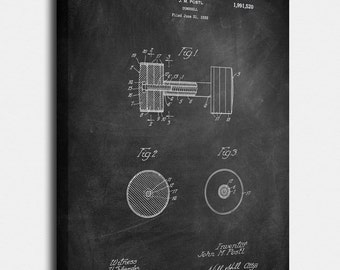 Dumbbell Canvases, Patent, Vintage Art, Blueprint, Poster, Wall Art, Décor