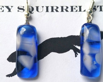 "Fused Art Glass Earrings   ""Surf"""