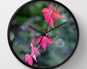 Red Wine Leaves, Photo Wall Clock, Floral Clock, Retro Wall Clock, Home Decor, Round Clock, Summer Clock, Home Accessories,Interior Design