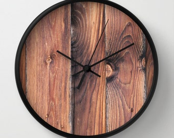 Barnwood, Photo Wall Clock, Brown, Modern Wall Clock,Retro Wall Clock, Home Decor, Round Clock, Wood Clock, Home Accessories,Interior Design