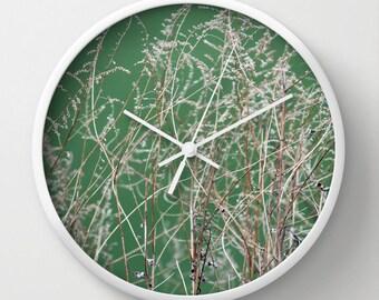 Dry Grass, Photo Wall Clock, Nature Wall Clock, Retro Wall Clock, Home Decor, Round Clock, Spring Clock, Home Accessories,Interior Design