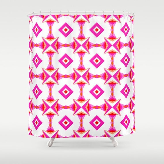 Pink Pattern, Shower Curtain, White, Abstract Curtain, Bath Curtain ...