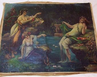 antique oil painting, the Three Graces