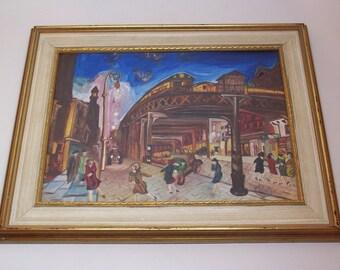 vintage original painting, retro street, framed and signed