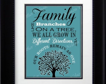 Turquoise Family Tree Print- DIGITAL
