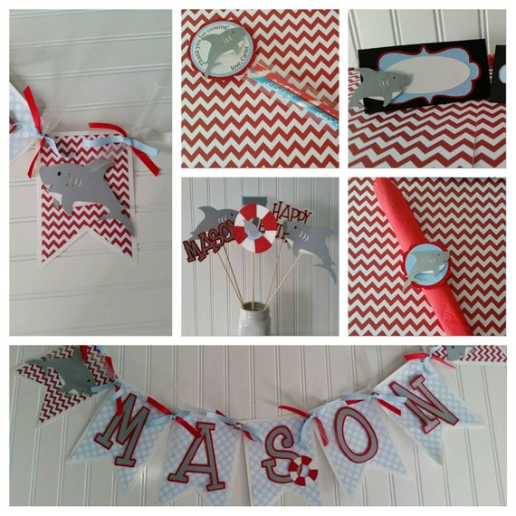 Items similar to shark party package boy shark birthday for 1st birthday decoration packages