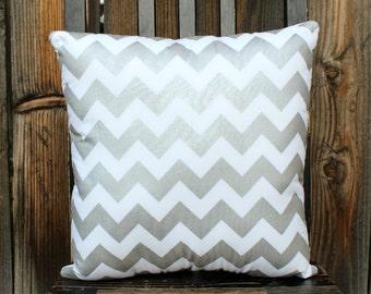 Pillow, chevron, decorative pillow, metallic silver