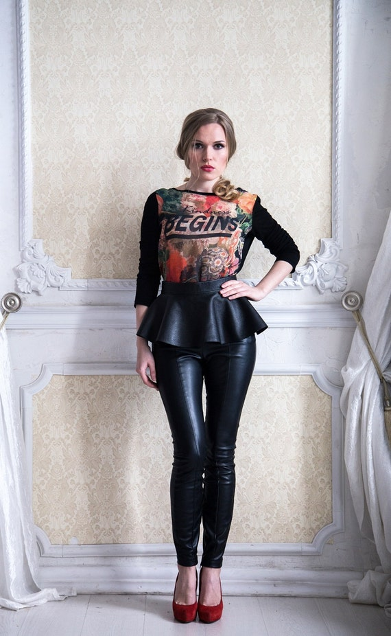 black leather belt skirt with embroidery by natalimekh on etsy