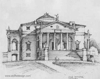 Sketch of the Villa Rotonda, Vincenza, Italy (Print)