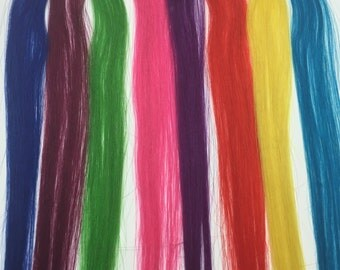 Rainbow Human Hair Extension Clip-In Color