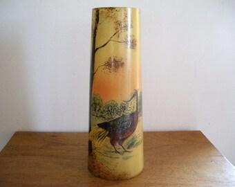 1900s French Enameled Vase Pheasant Legras ? Paris 1900