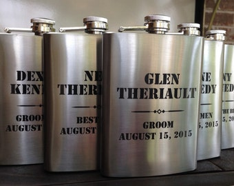 Laser Marked Stainless Steel Flasks-Groomsmen Gifts-Groom Gift-Army Gift-Bridesmaid Gifts-Bride Gift