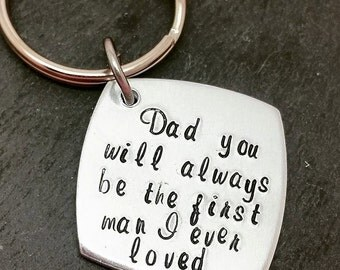 Fathers day, Dad Aluminium Keyring, Wedding, Father Gifts for him, Handstamped