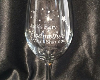 Personalized Fairy Godmother Wine Glass