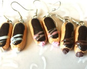 Vanilla,  Chocolate, and Raspberry French Eclair Pastry Miniature Food Earrings Gift Set