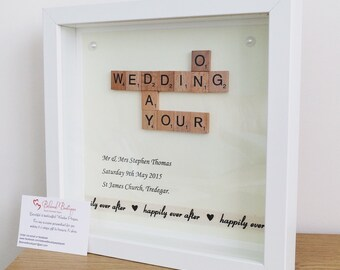 Scrabble wedding day frame