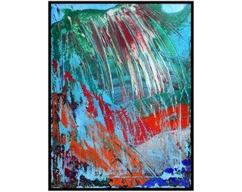 Abstract Canvas Art Original Contemporary Painting Blue Green Red White Orange - Redemption by Robert McConvey