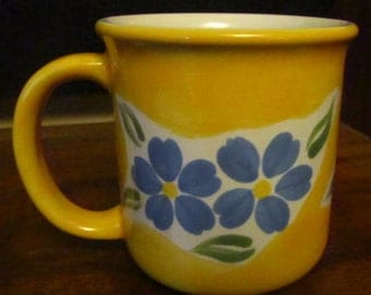 Dansk bright yellow with blue flowers coffee tea mug cup vintage