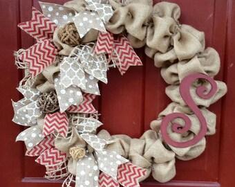 Burlap Red Chevron Ribbon Initial Wreath
