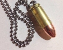 9mm Bullet Pendant Cartridge made with a Genuine Shell Casing Glock Neklace