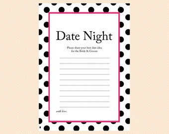 Date night ideas card, date night cards, date night sign, Black Dots Bridal Shower Games, Bachelorette Games, Wedding Shower Games BS24