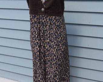 SALE! Zoe California Vintage Floral Overall style Maxi Dress