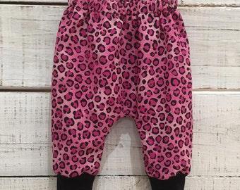 Heaven Sent handmade baby girl harem pant pink leopard print