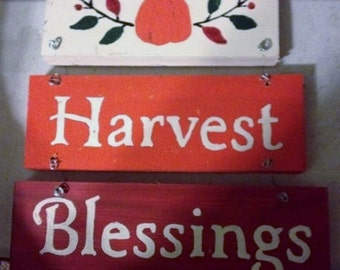 Harvest Blessings Wooden Sign