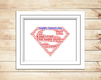 Fathers Day Super Hero  Word Art Superman