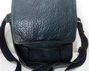 Vintage black genuine leather cross body messenger bag
