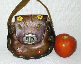 Vintage Handmade Tooled flower Shoulder Bag