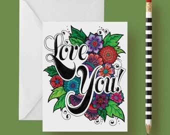 Love You Greeting Card 4.25 x 5.5 inches Blank Inside with Envelope