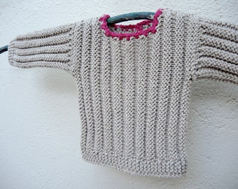 Beige pink knit baby sweater. Modern camel fuchsia newborn sweater. Handknit baby sweater. Baby shower gift idea. Newborn beige pink sweater