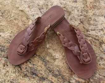 Brown Leather Sandal - Kara Braided Thong Flip Flop / Handmade in Turkey