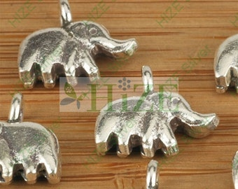 HIZE SC066 Thai Karen Hill Tribe Silver Little Elephant Charms 12mm (6)