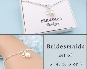 Silver Heart Bridesmaid's Bracelet, Message Card, Set of 3, 4, 5, 6 or 7, Freshwater Pearl Bridesmaid Gift, Wedding Jewelry, Bridesmaids Set