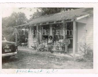 1950's Black & White Vintage Photo Porching Pinehurst North Carolina Family Summer Porch Sitting