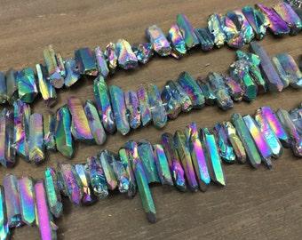 Tiny Rainbow quartz point mystic Titanium Quartz Crystal points Matte Quartz points Stick beads top drilled Raw Rough beads X 4-7mmx14-30mm