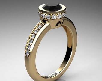Classic 14K Yellow Gold 1 Carat Black Diamond Diamond Solitaire Engagement Ring R1011-14KYGDBD