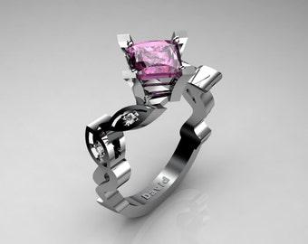 Nature Inspired 950 Platinum 2,5 Carat Princess Pink Sapphire Diamond Engagement Ring R1014-PLATDPS