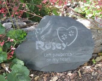 Medium Pet Memorial Stone - left pawprints on my heart