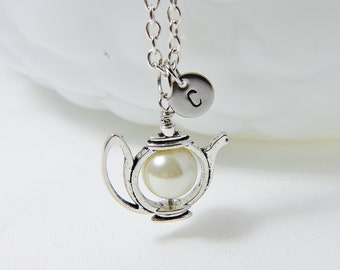 Teapot Necklace with Initial, Tea Party Jewelry, Teapot Charm with Personalized Initial Letter, Hand Stamped Monogram Necklace