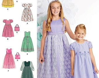 Simplicity Pattern 1184 . Child's and Girls' Dresses and Purse. Size 7-14