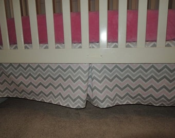 Gray and Pink Chevron Crib Skirt with Pleat