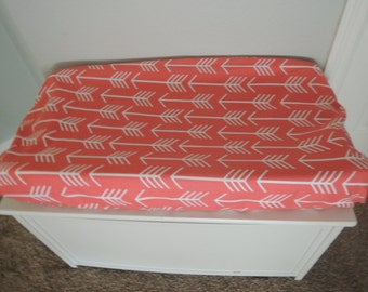 Coral Arrows Changing Pad Cover