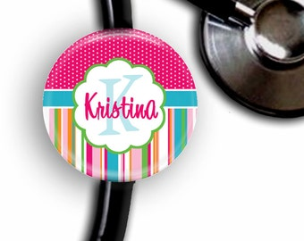 Spring Neon Stripes Personalized Stethoscope ID Tag