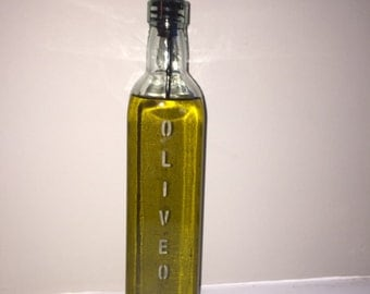 Marvelous Etched Glass Olive Oil Dispenser, Kitchen Olive Oil Pourer, Olive Oil  Bottle Housewarming Gift