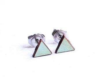 Geometric Earrings, Triangle Earrings, Tiny Earring Studs, 6mm Earrings, Mint Earring Studs, Eco Friendly