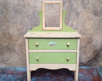 Antique Dolls Dresser Toy Furniture Wooden Painted
