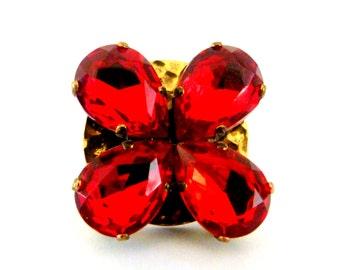 Large jewel - ring imposing Red Crystal Swarovski Crystal